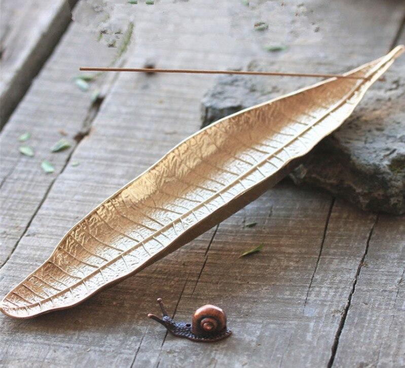 Креативная медная подставка для благовоний в стиле ретро с листьями Бодхи, подставка для благовоний ручной работы, домашний декор, дзен кур...