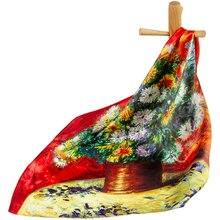 Чистый Шелковый шарф, женский шарф, Цветочный платок, шарф для волос, бандана для шеи, Цветочный платок для мужчин, квадратный шелковый женский головной платок