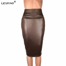LJCUIYAO Women Pu Leather Skirt Autumn Streetwear Casual Office Work Wear Bodycon Pencil Skirt High Waist Long Back Slit Skirts rose print slit back pencil dress