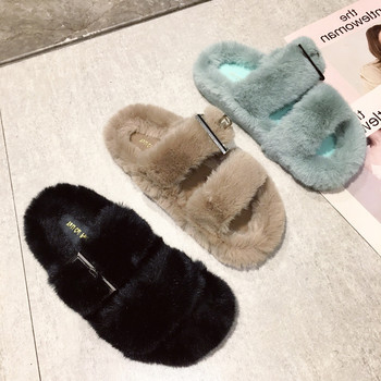 New Fluffy Faux Fur Slippers Women Furry Sandals Fake Mink Home Casual Plush Shoes