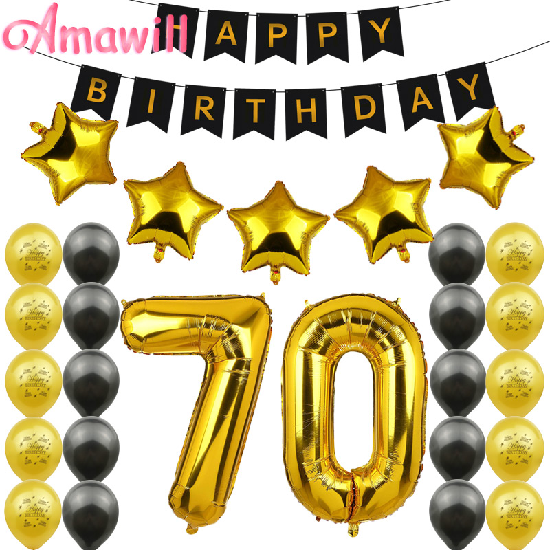 Amawill 70th <font><b>Birthday</b></font> <font><b>Party</b></font> Decoration Kit Happy <font><b>Birthday</b></font> Banner Gold Black Balloon Perfect <font><b>70</b></font> Years Old <font><b>Party</b></font> Supplies 75D image