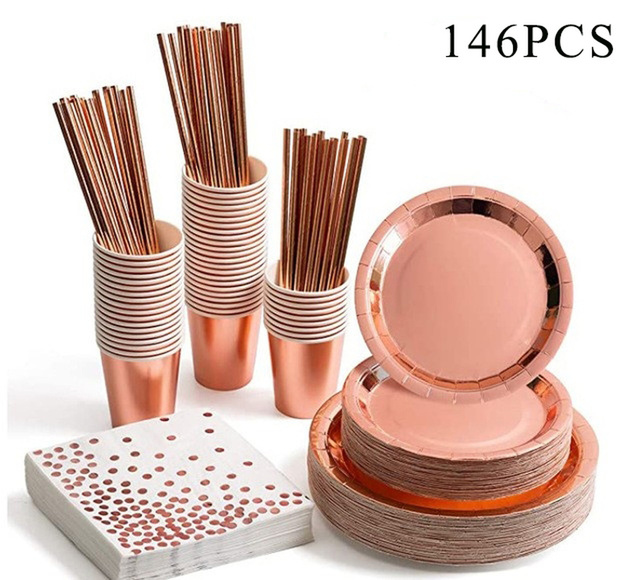 146pcs Disposable Party Tableware Rose Gold Champagne Paper Cup Plate Straws Birthday Party Festive Decor Wedding Supplies