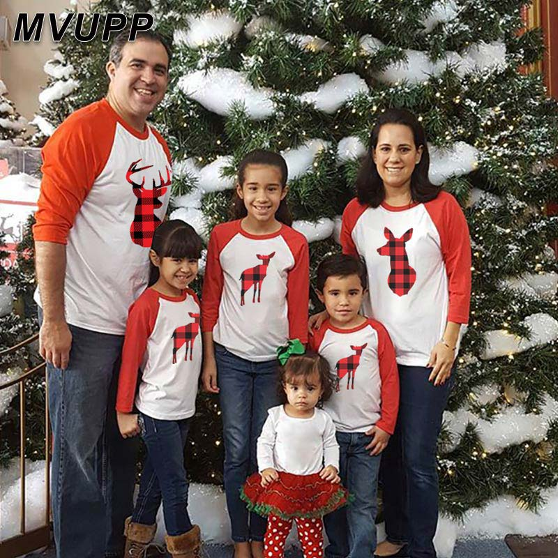 Christmas Plaid Deer Mother Daughter Father Son Matching Clothes Patchwork Long T Shirt Daddy Mommy And Me Family Look Clothes