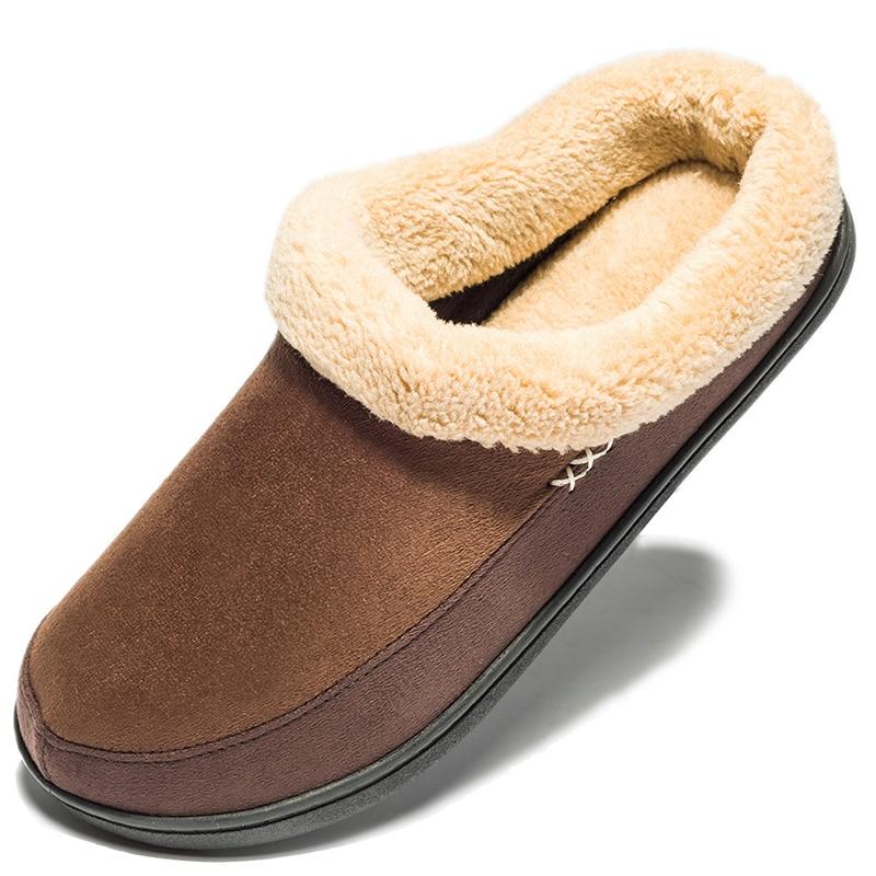 Chaud coton pantoufles hommes chaussures salle de bain intérieur homme hiver fourrure chaussures haute qualité en peluche maison chaussures plates grande taille 48 49 50