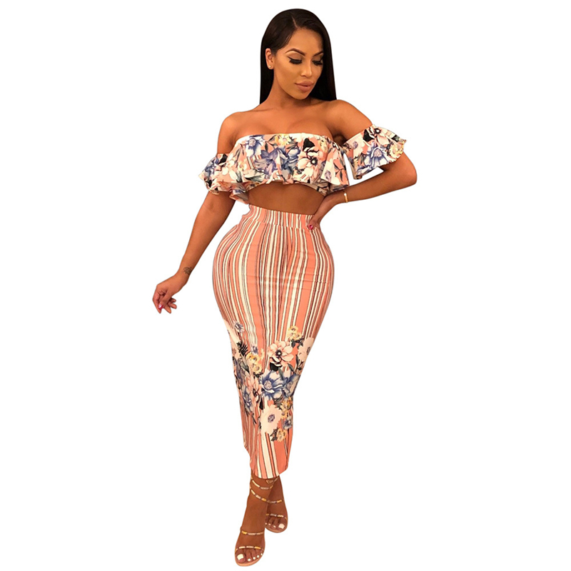 Adogirl Floral Print Two Piece Set Dress