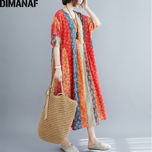 DIMANAF Summer Oversize Long Dress Women Clothing Print Floral Sundress Beach Elegant Lady Vestido Cotton Casual Loose Plus Size 4