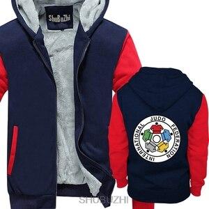 Image 3 - Neue IJF Internationalen Judo Federation Logo Männer der winter hoodie dicken pullover winter Gerade jacke sbz4597