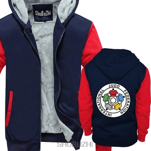 Image 3 - Nuovo IJF International Judo Federation Logo degli uomini di inverno con cappuccio di spessore con cappuccio inverno Straight jacket sbz4597