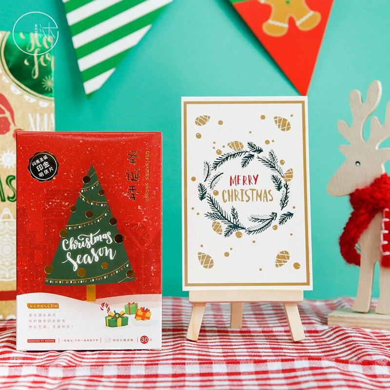 30 Pcs/lot Christmas Season Postcard Set Letter Envelope Merry Christmas Tree Greeting Cards Gift New Years Postcards