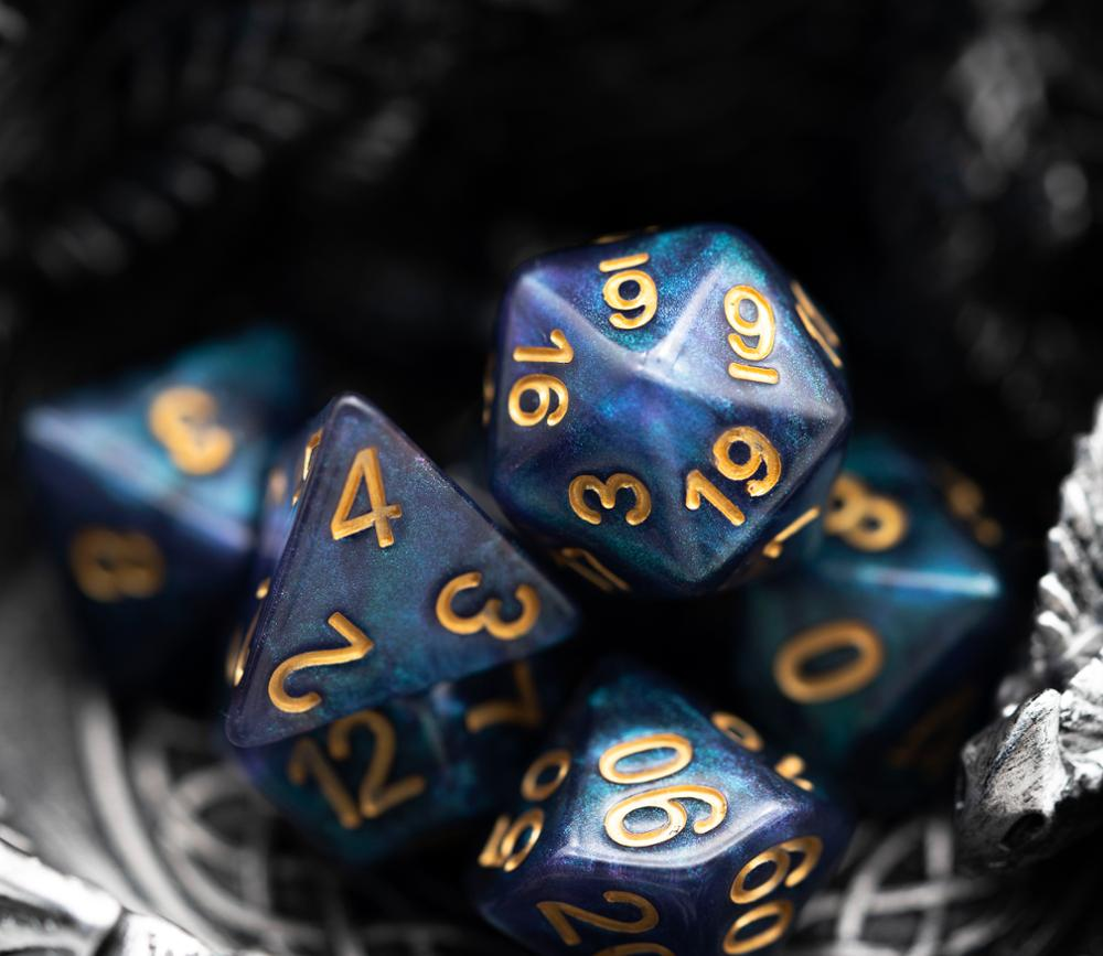 7 pz/set Sparkle Galaxy Blue DND Dice D & D dadi D4 D6 D8 D10 D % D12 D20 giochi poliedrici Set di dadi per D & D DND MTG RPG