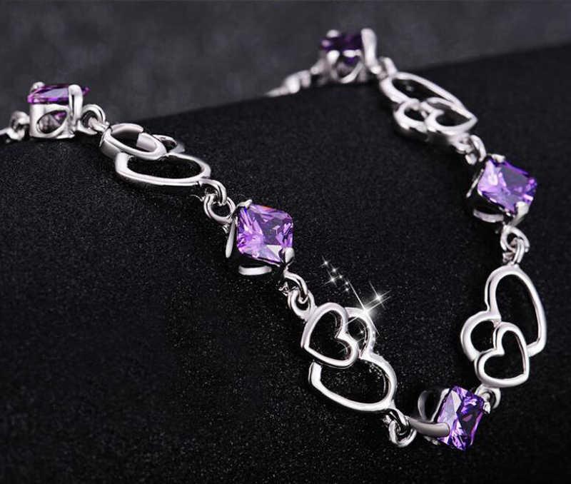 Женский браслет с аметистом YANHUI, браслет из 100% серебра 925 пробы с натуральным кристаллом, элегантное ювелирное изделие в подарок H013