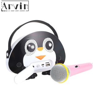 Children Portable Bluetooth Speaker Wireless Soundbar Karaoke Machine With Microphone Interactive Toy Gift For Kids-Black White