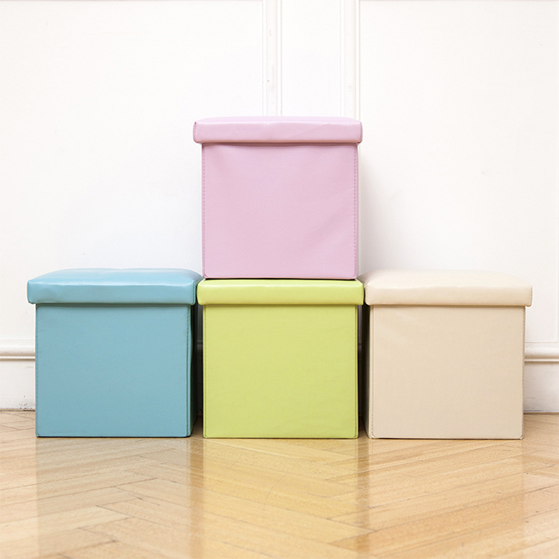 Creative Leather Storage Stool Box Multi-functional Folding Shoes Sofa Stool Home Storage Box Wholesale