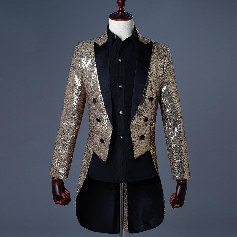 HEFLASHOR 2019 Men Gold Silver Red Blue Black Sequin Slim Fit Tailcoat Stage  Prom Dress Costume Wedding Groom Suit Jacket