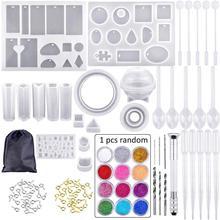 Molde de silicona para resina, silicona, resina uv, DIY, arcilla, resina epoxi, moldes de fundición y herramientas con una bolsa de Almacenamiento negro para joyería
