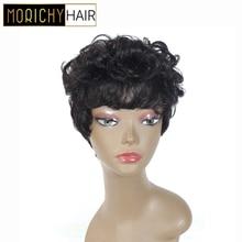 MORICHY Very short Wavy Bob Wig Malaysian Non-remy Human Hair Natural Dream  Ombre Color Curls For Women