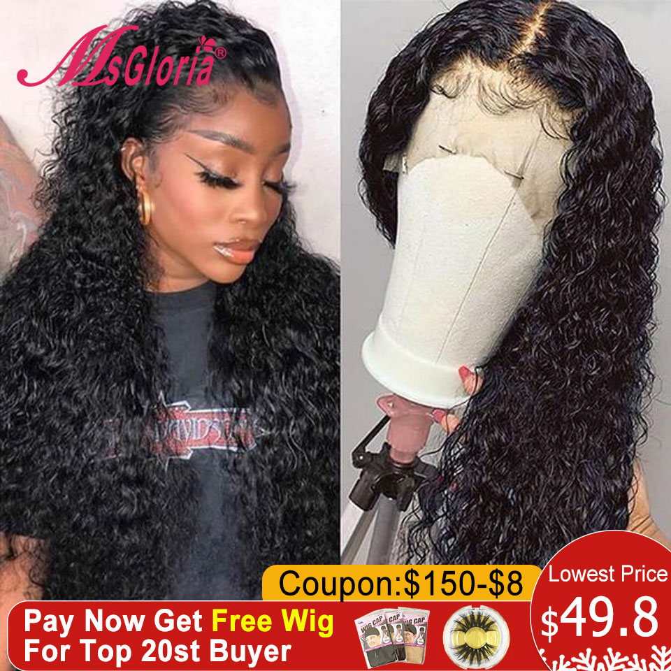 360 Lace Frontal Wig Natural Brazilian Remy Curly Wig With Pre Plucked Lace Front Human Hair Wigs For Women Bleached Knots 150%