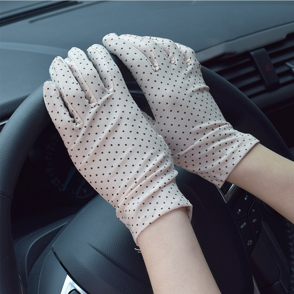 1Pair Fashion Sunscreen Wrist Thin Gloves Dot Elastic Mittens Women Knitted Fabric Anti-UV Short Mittens For Driving