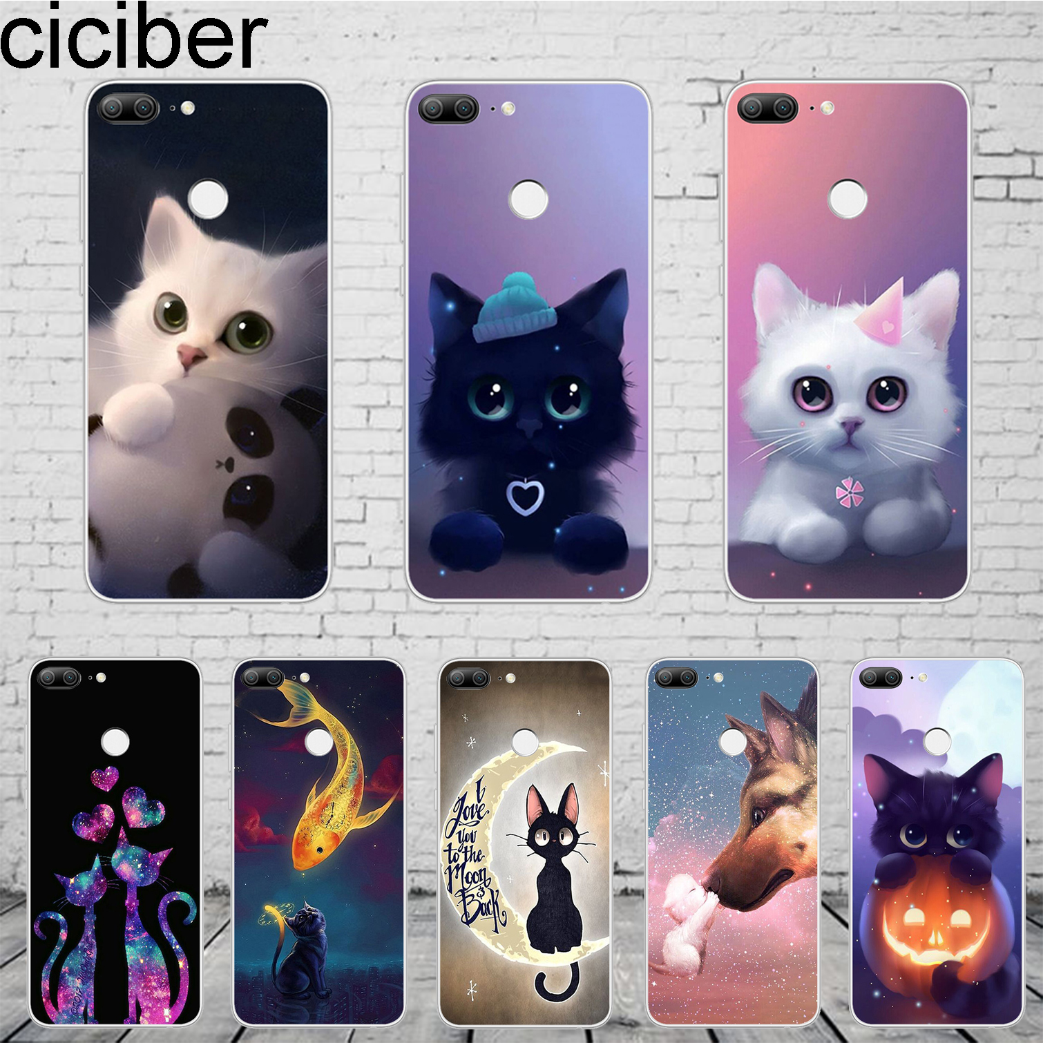 ciciber Cute Animal Cat <font><b>Fundas</b></font> For <font><b>Huawei</b></font> Honor 10 9 8 Pro Lite X Play Phone Case For <font><b>Y</b></font> 9 <font><b>7</b></font> 6 5 Prime Pro 2017 2018 <font><b>2019</b></font> TPU image