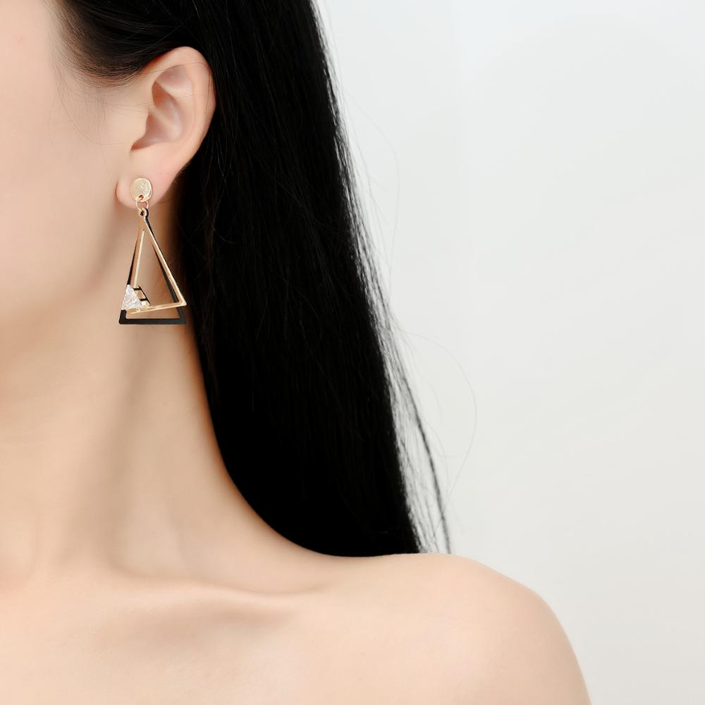 korean punk metal double triangle geometric <font><b>hit</b></font> color pendant <font><b>sexy</b></font> simple Crystal Drop Earring Women gift party Jewelry image