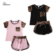 1-6Years Leopard Sleeve T-Shirt + Shorts 2pcs Set For Toddler Kids Baby
