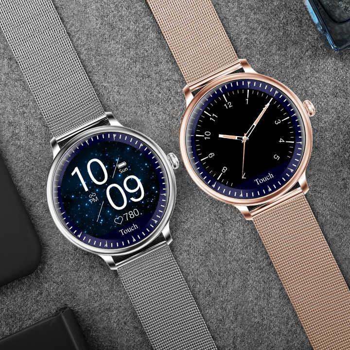 Vrouwen Smart Horloge Fashion Sport Hartslagmeter Multifunctionele Meting, Draaien Pols Heldere Scherm Waterdichte Smartwatch