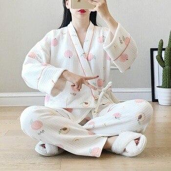 Ropa de dormir Pijamas cálidos para de algodón de las mujeres ropa de casa para las mujeres Pijamas Mujer Invierno dulce lindo melocotón Mujer japonesa Kimono