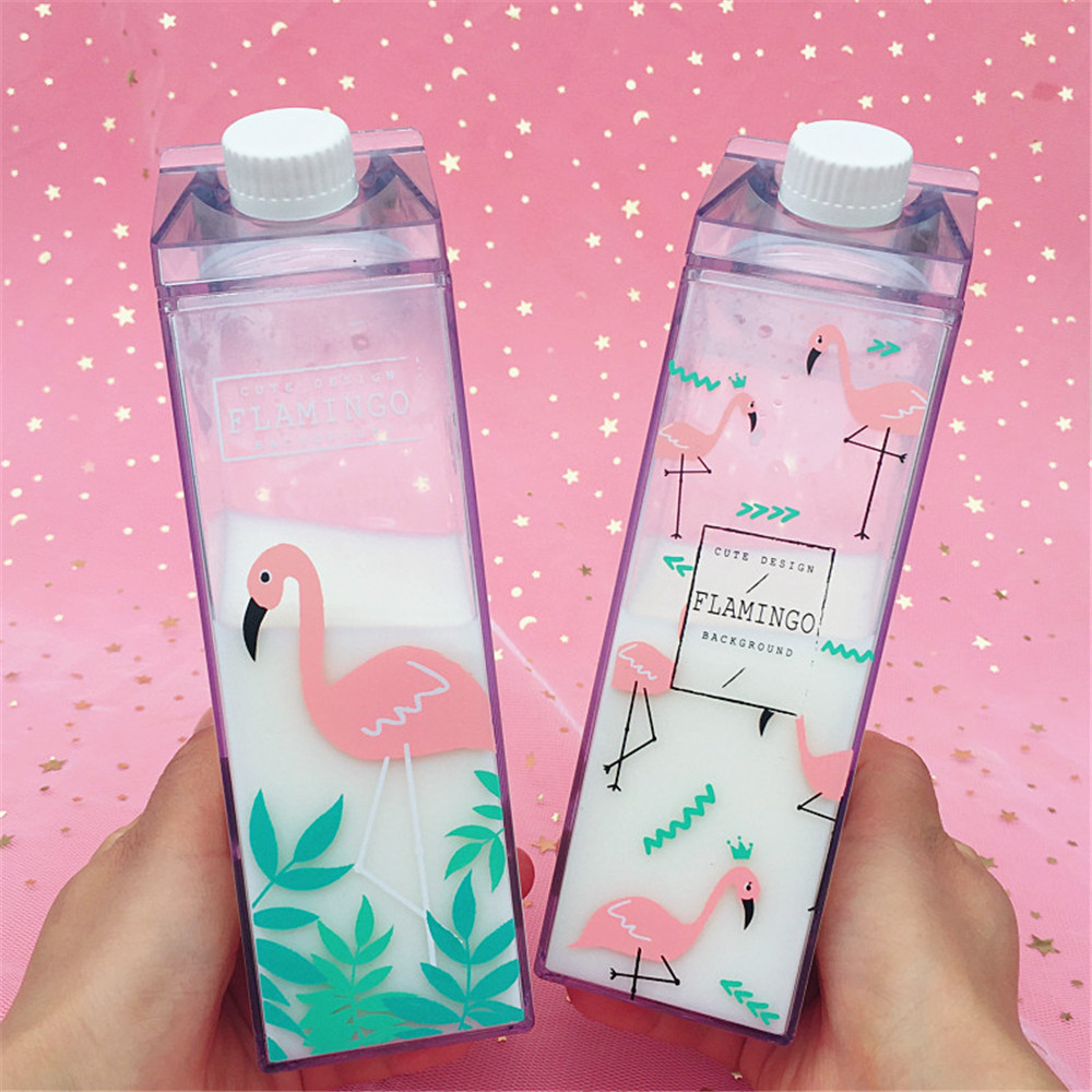 500ml Cute Bird Water Bottles Minimalist Square Plastic Milk Drink Bottle Student Coffee Fruit Juice Cup Vogue Drinkware
