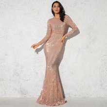 Elegant O Neck Long Sleeve Sequin Maxi Dress Floor Length Stretchy Bodycon Party Dress Gold Green Burgundy Black