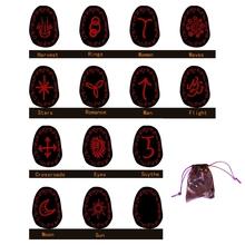 13 sztuk uzdrawiające czarownice Rune zestaw medytacja wróżbiarstwo Chakra wróżby runy kamienie grawerowane runy z płócienna torba tanie tanio VSRRWL CN (pochodzenie) Healing Witches Rune Set Wood 1 Set