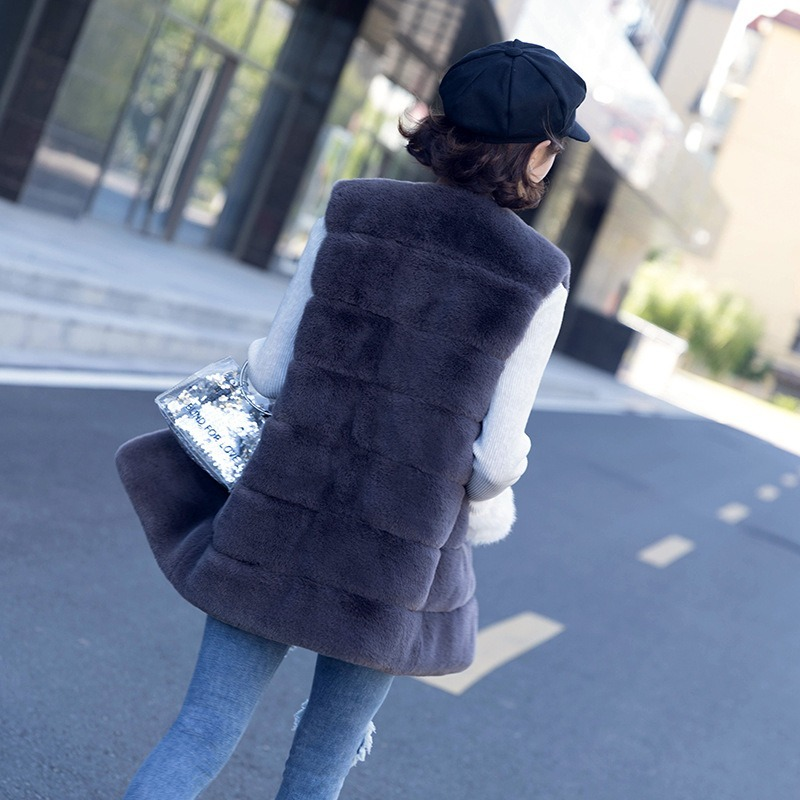 New Women Fur Coat Imitation Fox Fur Vest Women's Fine Leather Vest Winter Warm Soft Fox Fur Coat Fur Vest Girl Coat Long Jacket