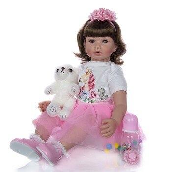 high quality 60cm big bebe reborn toddler princess Silicone vinyl adorable Lifelike Baby reborn Bonecas girl Curly hair doll toy
