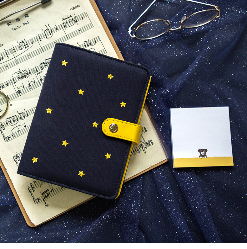 Good Night Little Stars Theme A6 Spiral Diary Book 160P Undated Monthly Weekly Planner Free Shipping