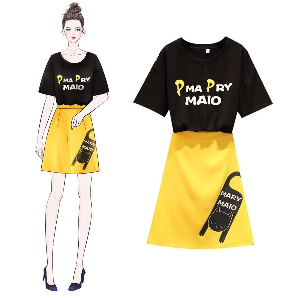 Summer Cute Designer Suit Set Women's Short Letters Sleeve Tees Blouse Lovely Cartoon Print Slim Skirt Suits TwinSet NS1006