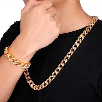 цена на AGLOVER Hip Hop Cuba Cuba Bracelet Ice Out Rhinestone 14mm Men's Crystal Gold Chain Cz Golden Light Rapper Necklace Men Jewelry