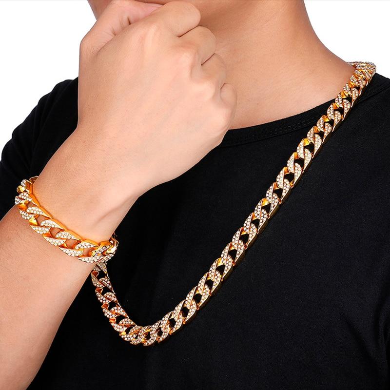 AGLOVER Hip Hop Cuba Cuba Bracelet Ice Out Rhinestone 14mm Men's Crystal Gold Chain Cz Golden Light Rapper Necklace Men Jewelry