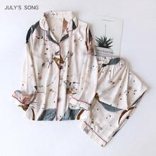 JULY'S SONG 100% Viscose Women Pajamas Casual Long Sleeve Sleepwear Pajamas Set Printed Pockets Summer Cool Pyjama Suit Femmel