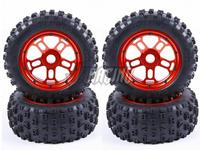 CNC machined all metal hubs with fiber cloth sandwich cross country tire skin and waterproof inner tube for LOSI 5IVE T ROVAN LT