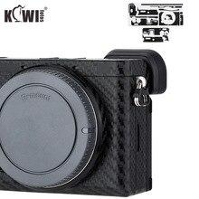 KIWIFOTOS נגד שריטות מצלמה גוף כיסוי סיבי פחמן סרט ערכת עור עבור Sony A6600 3M מדבקה עם חילוף סרט מצלמות הגנה