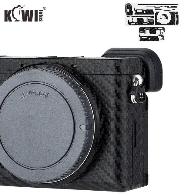 KIWIFOTOS anti rayures caméra corps couverture en Fiber de carbone Film Kit peau pour Sony A6600 3M autocollant avec Film de rechange caméras Protection