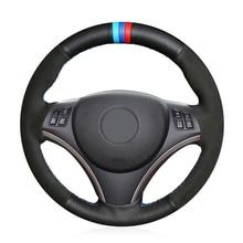 Hand Sew Genuine Leather Black Suede Comfortable Car Steering Wheel Cover for BMW E90 320i 325i 330i 335i E87 120i 130i 120d цена 2017