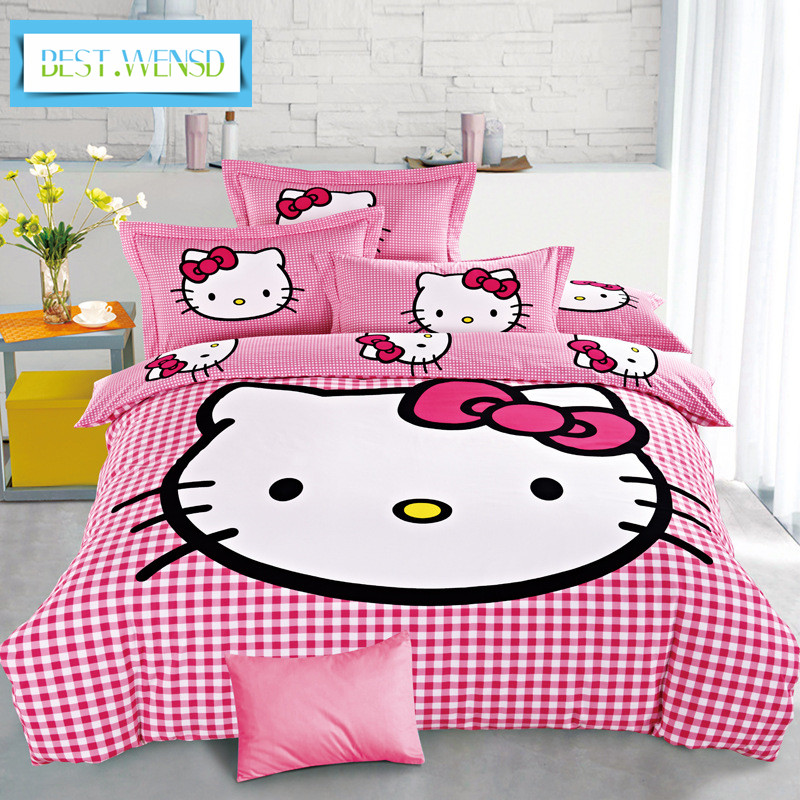 BEST.WENSD 3d Bedding Duvet-Cover-Sets Bed-Sheet Queen Hello-Kitty Kids Super-King Cotton title=