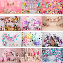 Pink Girl Birthday 1st Birthday Background for Photography Butterfly Balloon Decoration Photographic Studio Photo Backdrop Props