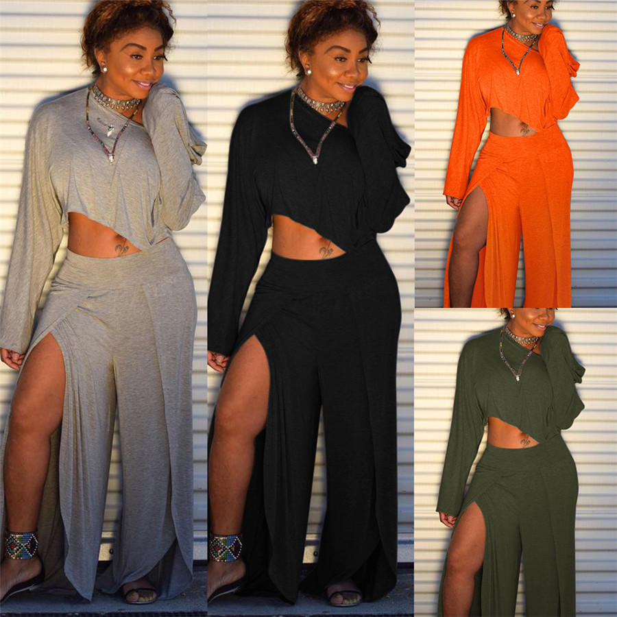 2020 Matching Set Women Clothes One Shoulder Long Sleeve Crop Top+High Split Wide Leg Pant Tracksuit Two Piece Outfit