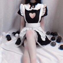 Japanese Maid Servant Uniform Lolita Costume Babydoll Dress Erotic Role Play Live Show Women Sexy Underwear Cosplay Stockings