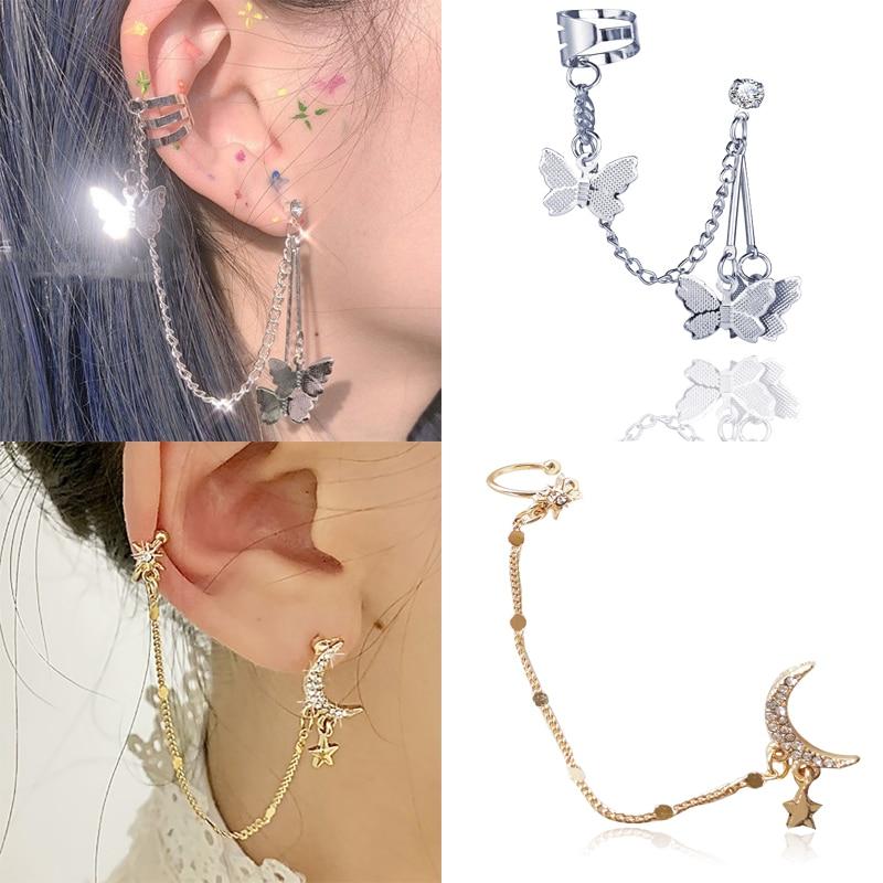 One-piece earring Rhinestone Moon Star Butterfly Long Chain Earrings  hoop Tassel Piercing Earrings Jewelry for Women Girls Gift