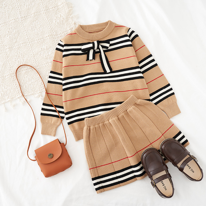 2021 Autumn New Arrival Girls Knitted 2 Pieces Suit Top+skirt  Kids Clothing  Girls Clothing 1