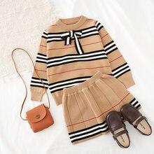 2020 sonbahar yeni varış kızlar örme 2 parça takım elbise üst + etek çocuk giyim kız giyim
