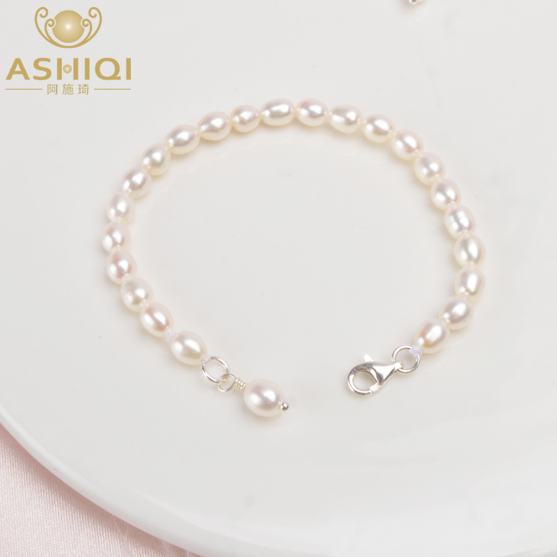 ASHIQI Children Bracelet Real MiNi Natural Freshwater Pearl  Jewelry For Girl Kid Lovely Gift With 925 Sterling Silver Jewelry
