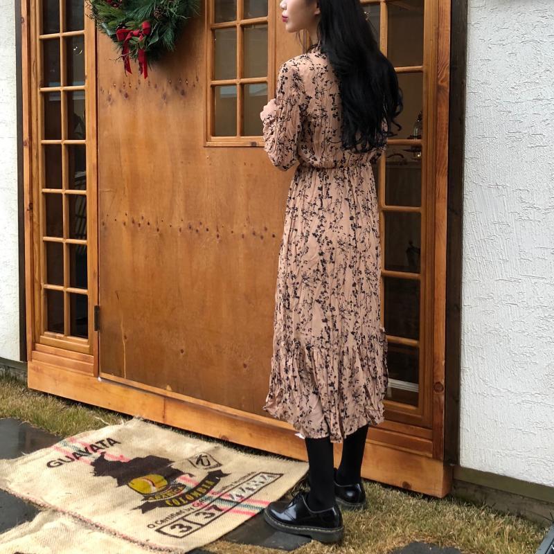 Hb2cfbb80a29e4bb6820bb1c66e06e485n - Autumn Korean V-Neck Long Sleeves Chiffon Floral Print Midi Dress